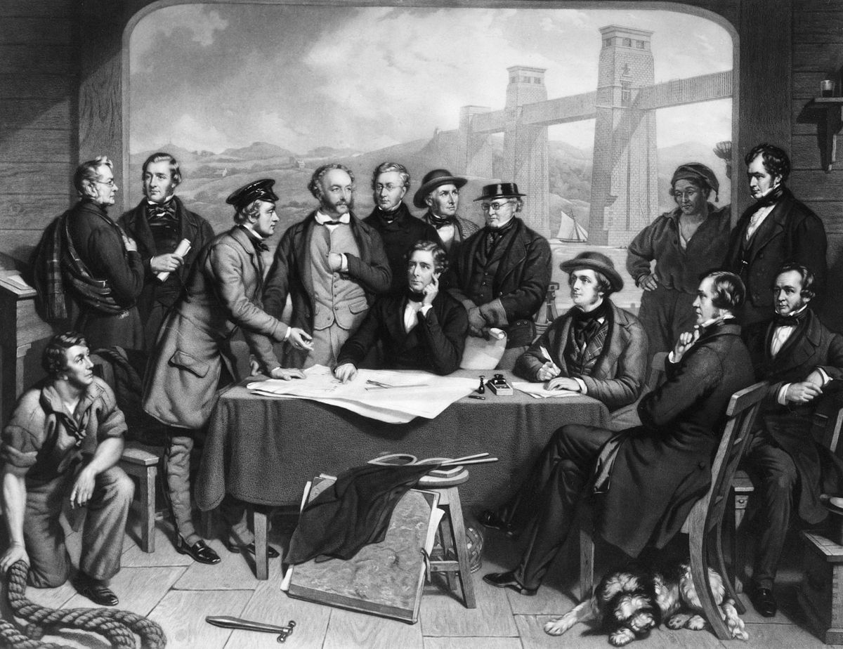 Conference_of_Engineers_at_the_Menai_Straits_Preparatory_to_Floating_one_of_the_Tubes_of_the_Britannia_Bridge_by_John_Lucas